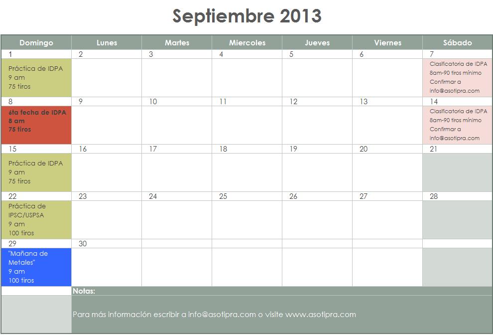 Calendario ASOTIPRA   Calendario septiembre ASOTIPRA   Eventos    Calendario Septiembre 2013
